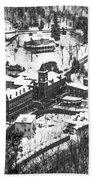 Jim Thorpe Pennsylvania In Winter In Black And White Bath Towel