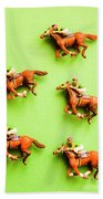 Jockeys And Horses Bath Towel
