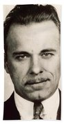 John Dillinger Mug Shot Sepia Bath Towel