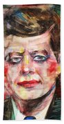 John F. Kennedy - Watercolor Portrait.3 Bath Towel