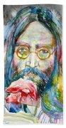 John Lennon - Watercolor Portrait.9 Bath Towel
