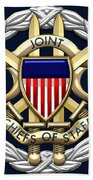Joint Chiefs Of Staff - J C S Identification Badge On Blue Velvet Bath Towel