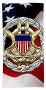 Joint Chiefs Of Staff - J C S Identification Badge Over U. S. Flag Bath Towel