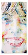 Joni Mitchell - Watercolor Portrait Bath Towel