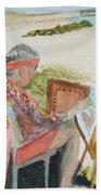 Julia Painting At Boynton Inlet Beach  Hand Towel