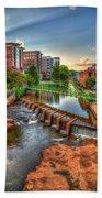Just Before Sunset Reedy River Falls Park Greenville South Carolina Art Bath Towel