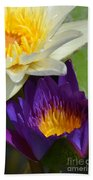 Just Opening Purple Waterlily With White - Vertical Bath Towel