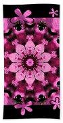 Kaleidoscope 1 With Black Flower Framing Bath Towel