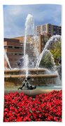 Kansas City Fountain Ablaze In Crimson Bath Towel