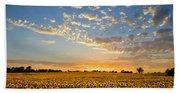 Kansas Sunflowers At Sunset Bath Towel