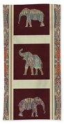 Kashmir Elephants - Vintage Style Patterned Tribal Boho Chic Art Bath Towel
