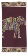 Kashmir Patterned Elephant 2 - Boho Tribal Home Decor  Bath Towel