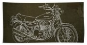 Kawasaki Motorcycle Blueprint, Mid Century Brown Art Print Hand Towel