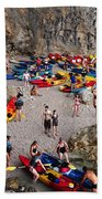 Kayaks On A Beach Bath Towel