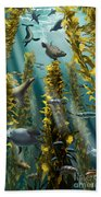 Kelp Forest With Seals Bath Towel