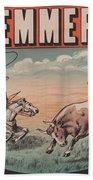 Kemmerich - Bull - Lasso - Old Poster - Vintage - Wall Art - Art Print - Cowboy - Horse  Bath Towel