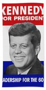 Kennedy For President 1960 Campaign Poster Bath Towel