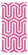 Key Maze With Border In French Pink Bath Towel