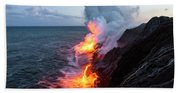 Kilauea Volcano Lava Flow Sea Entry 3- The Big Island Hawaii Bath Towel