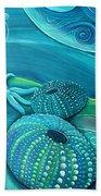Kina Sea Anemone With  Stingray By Reina Cottier Bath Towel
