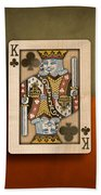 King Of Clubs In Wood Bath Towel