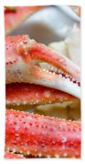 King Snow Crab Legs Ready To Eat Closeup Bath Towel