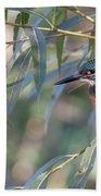 Kingfisher In Willow Bath Towel