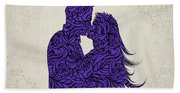 Kissing Couple Silhouette Ultraviolet Hand Towel