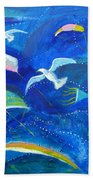 Kites And Seagulls Over Pacific Hand Towel