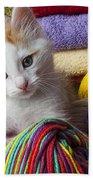 Kitten In Yarn Bath Towel
