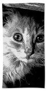 Kitty In Black White Bath Towel