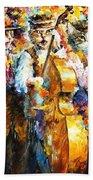 Klezmer Cats - Palette Knife Oil Painting On Canvas By Leonid Afremov Bath Towel