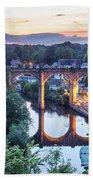 Knaresborough Viaduct Floodlit At Dusk Bath Towel