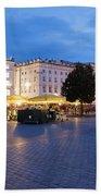 Krakow Main Square By Night Bath Towel