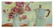La Caffettiera E I Fiori Amaranto Hand Towel