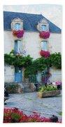 La Gacilly, Morbihan, Brittany, France, Town Hall Painting Bath Towel