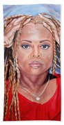 Lady Holding Locks Bath Towel