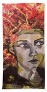 Lady In Red Headdress Hand Towel