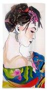 Lady With Kimono Bath Towel