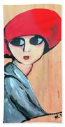 Lady With Red Hat Bath Towel
