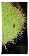 Ladybug On Cactus Bath Towel