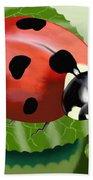 Ladybug On Leaf Hand Towel