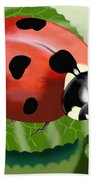 Ladybug On Leaf Bath Towel