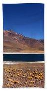 Laguna Miniques And Miniques Volcano Chile Bath Towel