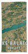 Lake Balaton 3d Render Satellite View Topographic Map Horizontal Bath Towel