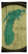 Lake Michigan Map Bath Towel