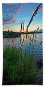 Lake Sunset And Sedge Grass Silhouettes, Pocono Mountains Bath Towel