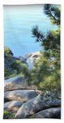 Lake Tahoe And Boulders Bath Towel