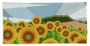 Land Of Sunflowers. Bath Towel