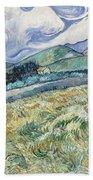 Landscape From Saint Remy At Wheat Fields  Van Gogh Series   By Vincent Van Gogh Bath Towel